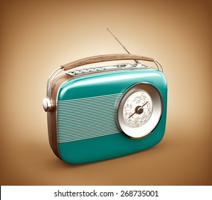 Vintage radio on brown background