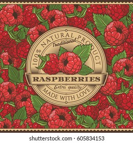 Vintage Raspberries Label On Seamless Pattern