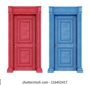 Vintage red and blue doors isolated on white-rendering