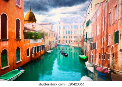 Vintage red brick house and gondola in grand canal, Venice. abstract digital oil painting effect.
