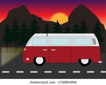 Vintage red car on road. Vintage van on road.