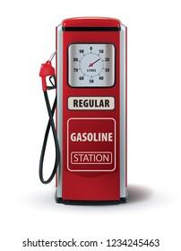 Vintage red gasoline pump. 3d illustration