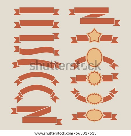 vintage red plain banners set isolated stock illustration 563317513