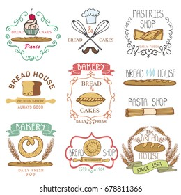 Vintage Retro Bakery Badges,Labels,logos.Colored hand sketched doodles design elements (bread, loaf, wheat ear, cake icons).Logotypes,stickers for bread shop,pastries house.Illustration