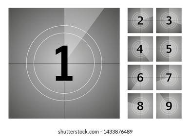 Vintage retro cinema. Countdown frame. Art design. Old film movie timer count. stock illustration.