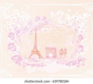 Фотообои Vintage retro Eiffel card
