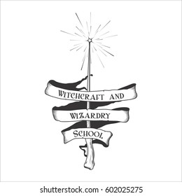 Vintage retro fantasy magic wizard school of witchcraft and wizardry ribbon sign with magic wand logo. Illustration on white background