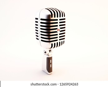 Vintage retro microphone isolated on white background, 3d illustration