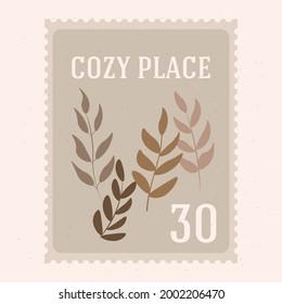 Vintage retro poshmark. Cozy place. Autumn card. Leaves