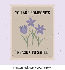 Vintage retro poshmark. You are someone's reason to smile. Card with purple flowers