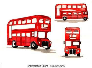 Vintage, retro red double-decker bus    in different angles. British bus. Sketch  and watercolor illustration isolated on a white background.
