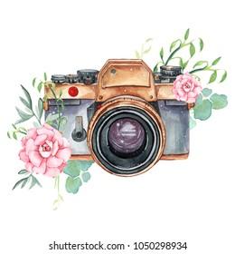 Vintage retro watercolor camera. Perfect for photography logo. Watercolor illustration.