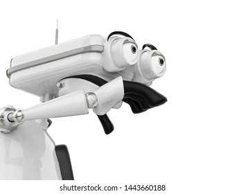 vintage robot is on the skate in a white background. This bot will put some fun in yours creations, 3d illustration