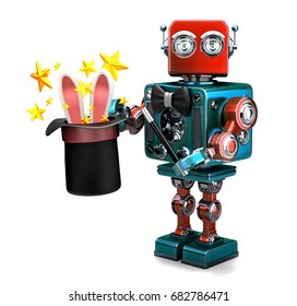 Vintage Robot showing tricks with magic hat. 3D illustration. Isolated. Contains clipping path.