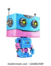 Vintage robotic toy with straight forms,  3d rendering