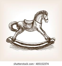 Vintage rocking horse toy sketch style raster illustration. Old hand drawn engraving imitation. Vintage object illustration