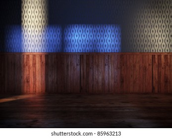vintage room with blue silk wallpaper and old wood paneling