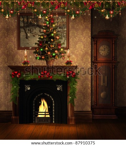 vintage room with a fireplace and christmas decorations