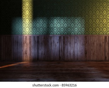 vintage room with green silk wallpaper and old wood paneling