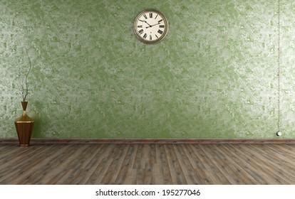 Vintage room with Venetian plaster wall in green - rendering