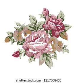 Vintage roses design element, classic floral ornament illustration - raster version
