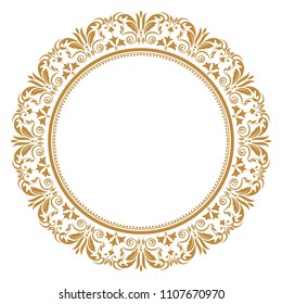 Vintage round frame in retro style, barroco. Flower decorative ornament, element for greeting cards, invitation, menu. Stylish  graphics.