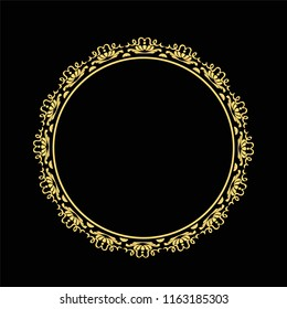 Vintage round frame in retro style, barroco. Flower decorative gold ornament, element for greeting cards, invitation, menu. Stylish graphics.