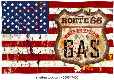 Vintage route sixty six gas station sign