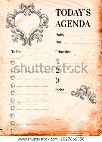 vintage royal style daily planner template stationery design cute and simple printable to do