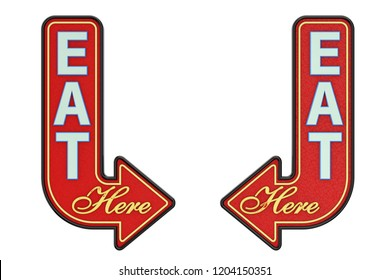 Vintage Rusty Metal Eat Here Arrow Sign on a white background. 3d Rendering