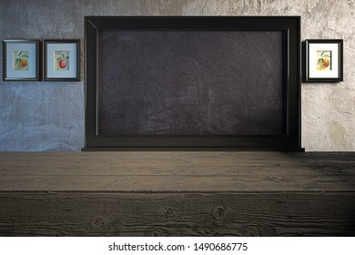 Vintage scenery with empty rustic table with customizable empty blackboard hanging on the wall, rustic setting, farm setting, 3d illustration, 3d rendering