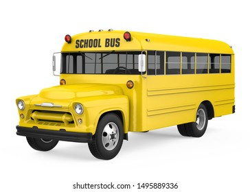 Vintage School Bus Isolated. 3D rendering