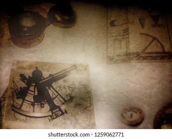Vintage science travel background, map, compass, astrolabe grunge on old canvas paper