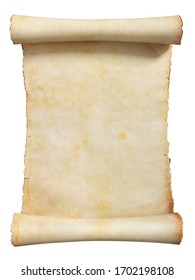 Vintage scroll or parchment manuscript isolated on a white background. Clipping path included. 3d illustration