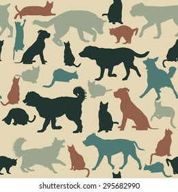Vintage seamless background with cats and dogs silhouettes