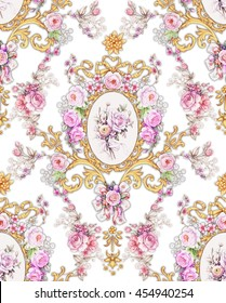 Vintage seamless composition with floral frame 5