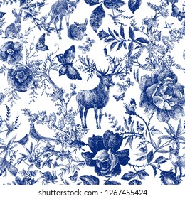 Vintage seamless design with floral and wild animal. Fairytale forest. hand drawn pattern roses flower line graphics. fashion textile design Indigo color.