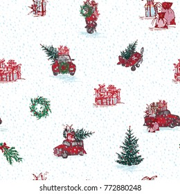 Vintage seamless Merry christmas pattern in hand drawn style on white background. Gift holiday winter line icon. Great design for any purposes celebration decoration design. Illustration.