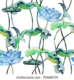 Vintage seamless pattern with blue lotuses. Watercolor painting of water lily with green leaves. Hand drawn floral elements for repeatable japanese style background. Raster illustration.