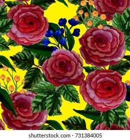 Vintage seamless pattern with flowers. Hand drawn floral background.