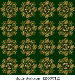 Vintage seamless pattern with gold gradient. Elegant golden invitation card with floral decor of gold ornament and green background.