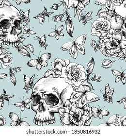 Vintage seamless pattern with goth skull, butterdlies and flowers on blue background. Dead of the dead texture.