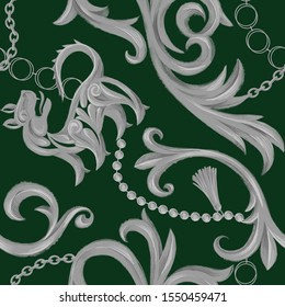 Vintage seamless pattern with heraldic lion and Baroque elements. Chain, border, accessories and jewelry. Victorian, Rococo, Baroque style background.