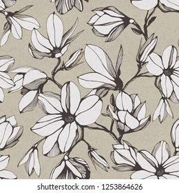 Vintage seamless pattern of magnolia flower on a paper background. Hand drawn ink illustration. Wallpaper or fabric design. Stylish illustration
