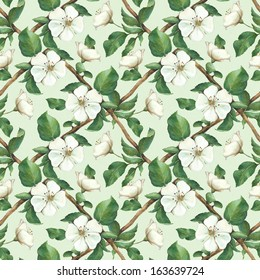 Vintage seamless pattern with watercolor apple flowers