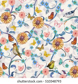 vintage seamless texture with fancy tropical flora and birds. watercolor painting