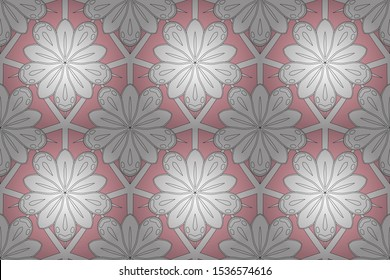 Vintage seamless texture. Raster motley ornament. Pattern with white, pink and black elements. Can be used for luxury greeting rich card.