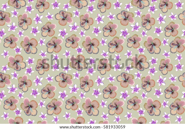 Vintage seamless tropical hibiscus flowers, leaves and buds. Multicolor raster pattern on neutral background.