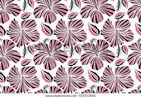 Vintage seamless tropical hibiscus flowers. Pattern on a white background in pink and black colors.