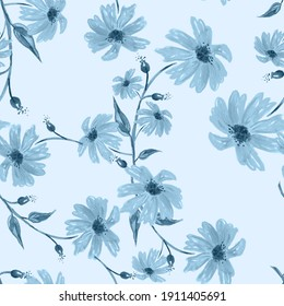 Vintage seamless watercolor pattern of plants. Herbs, flowers, chamomile, flowers watercolor. abstract splash of paint. flowers sunflower, leaves, calendula.Blue flowers cornflowers, Blue  chamomile
